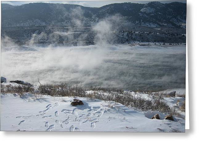 Horsetooth Mountain Greeting Cards - The Mist Greeting Card by Cliff Johnson