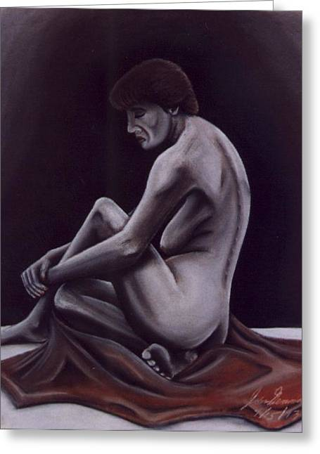 Surrealism Pastels Greeting Cards - The Model of a Young Artist Greeting Card by Jon D Gemma