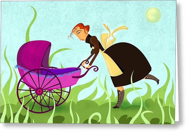 Carriage Greeting Cards - The Mom Greeting Card by Autogiro Illustration
