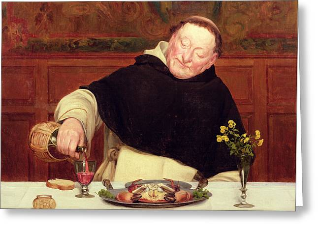 The Monk's Repast Greeting Card by Walter Dendy Sadler