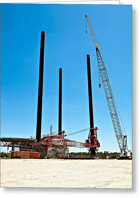 Tower Crane Greeting Cards - The Monster Greeting Card by Steve Harrington