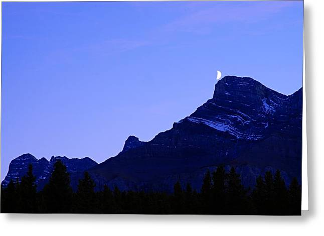 Rundle Greeting Cards - The Moon and Mount Rundle Greeting Card by Larry Ricker