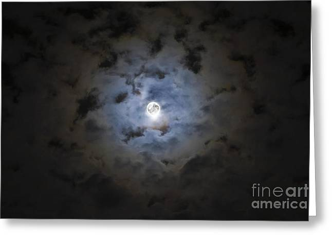 The Moon Covered By A Layer Of Clouds Greeting Card by Miguel Claro