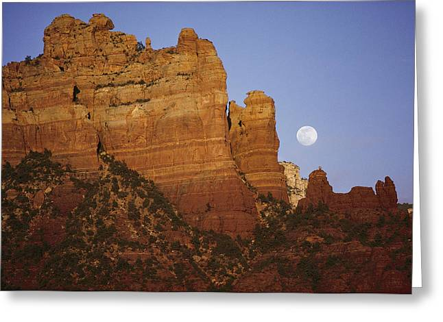 Oak Creek Greeting Cards - The Moon Rises Over The Canyon Greeting Card by George F. Mobley