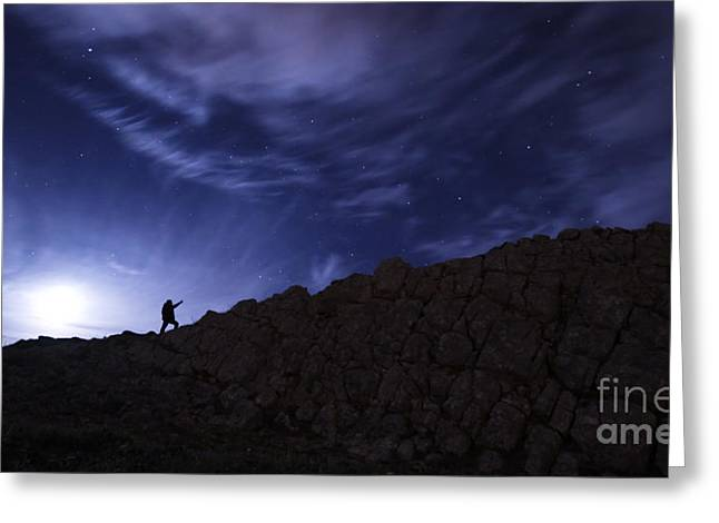Rock Slope Greeting Cards - The Moon Rises Over The Cape Espichel Greeting Card by Miguel Claro