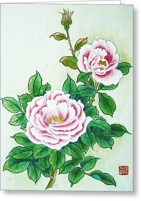 Old Relics Paintings Greeting Cards - The Moon Roses Greeting Card by Sl C