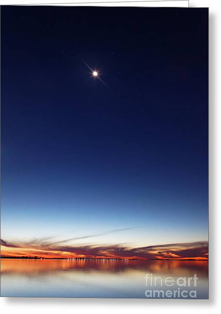 Twinkle Greeting Cards - The Moon, Saturn, Mars And Spica Greeting Card by Luis Argerich