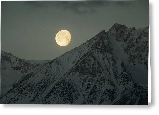 Bishops Peak Greeting Cards - The Moon Sets Over Basin Mountain Greeting Card by Gordon Wiltsie