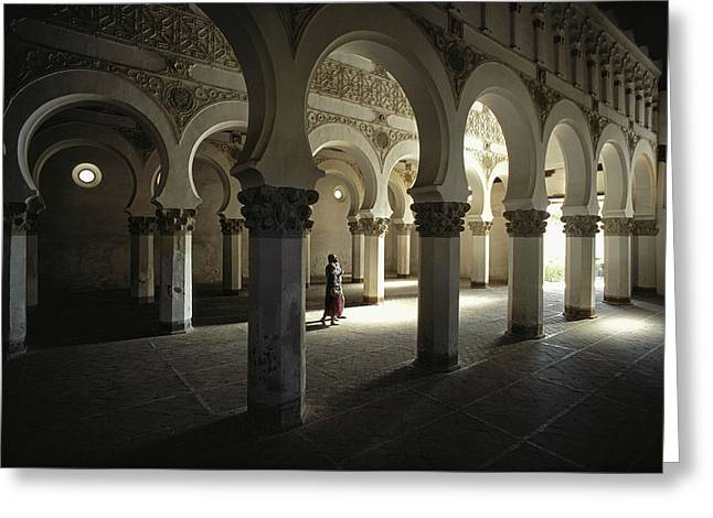 Church Synagogue Greeting Cards - The Moorish Arched Interior Greeting Card by James P. Blair