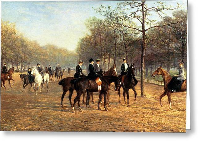 Row Greeting Cards - The Morning Ride Rotten Row Hyde Park Greeting Card by Heywood Hardy