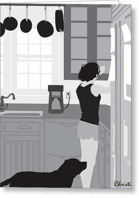 Chelsea Digital Art Greeting Cards - The Morning Routine Greeting Card by Christie Mealo