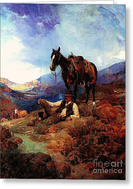 Western Life Greeting Cards - The Morning Shower Greeting Card by Pg Reproductions