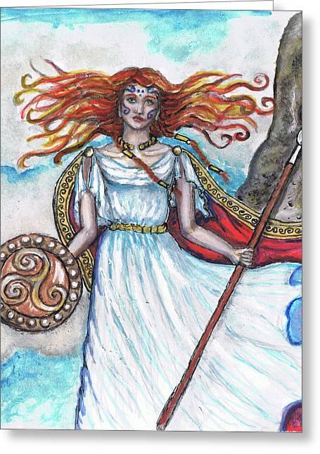 Warrior Goddess Greeting Cards - The Morrigan Greeting Card by Janice T Keller-Kimball