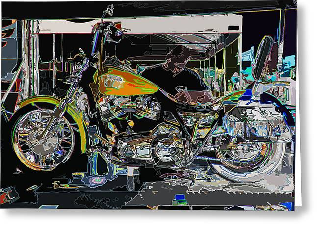 Sam Sheats Greeting Cards - The Motorcycle Mechanic Greeting Card by Samuel Sheats
