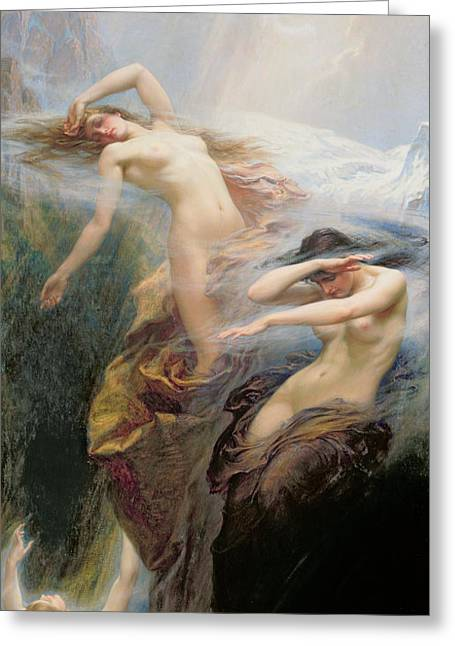 Odalisque Greeting Cards - The Mountain Mists Greeting Card by Herbert James Draper