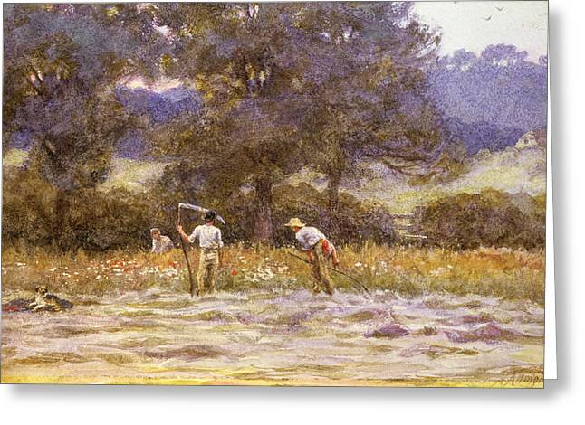 Helen Allingham Greeting Cards - The Mowers  Greeting Card by Helen Allingham
