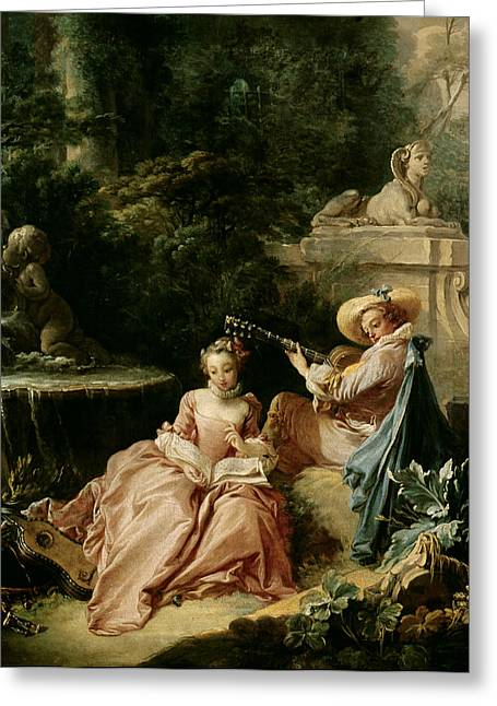 Lesson Greeting Cards - The Music Lesson Greeting Card by Francois Boucher