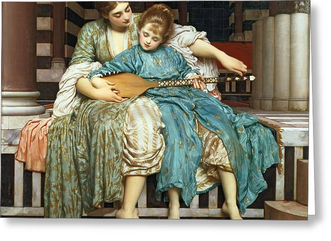 Lesson Greeting Cards - The Music Lesson Greeting Card by Frederic Leighton