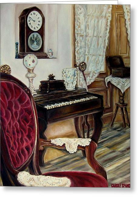 Schubert Greeting Cards - The Music Room Greeting Card by Carole Spandau