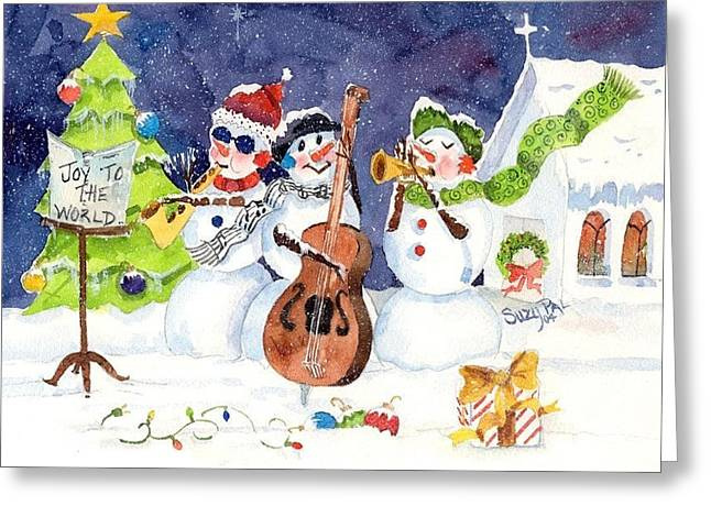Christmas Art Greeting Cards - The Musicians Greeting Card by Suzy Pal Powell