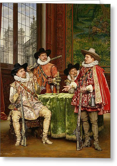 Alexandre Greeting Cards - The Musketeers Tale Greeting Card by Adolphe Alexandre Lesrel