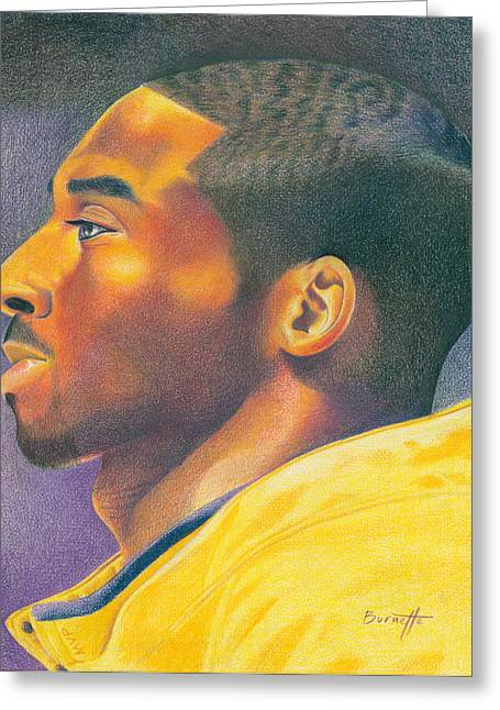 Lakers Drawings Greeting Cards - The MVP Greeting Card by Keith Burnette