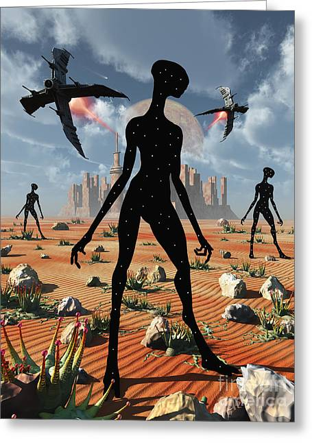 Skinny Greeting Cards - The Mysterious Black Shape Of Beings Greeting Card by Mark Stevenson