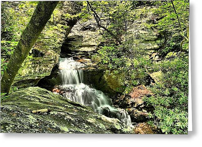 Ledge Photographs Greeting Cards - The Mystery Waterfall Greeting Card by Adam Jewell