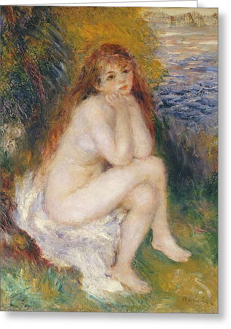 Chin On Hand Paintings Greeting Cards - The Naiad Greeting Card by Pierre Auguste Renoir