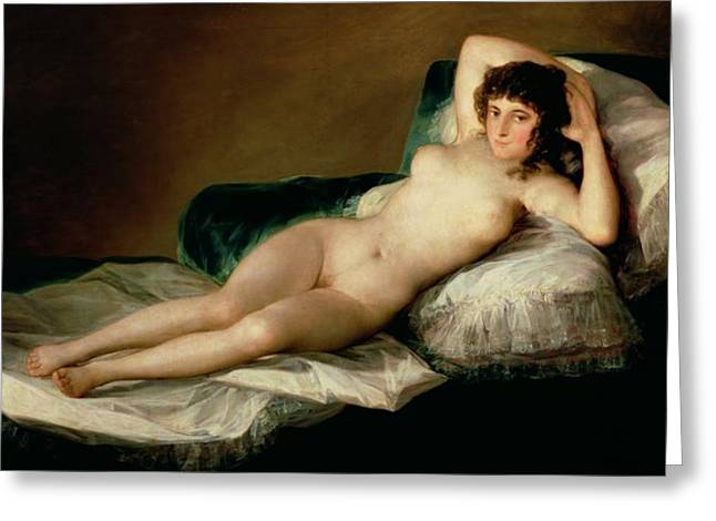 Woman Nude Greeting Cards - The Naked Maja Greeting Card by Goya