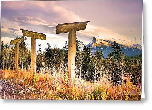 Rundle Greeting Cards - The Names of the Mountains Greeting Card by Tara Turner