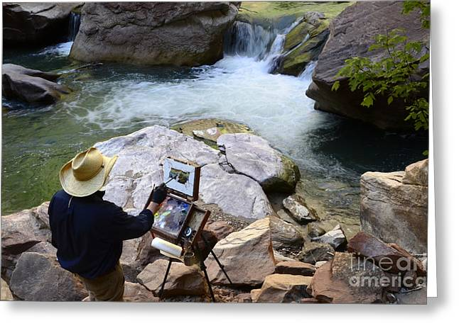 Artist At Work Greeting Cards - The Narrows Quality Time Greeting Card by Bob Christopher
