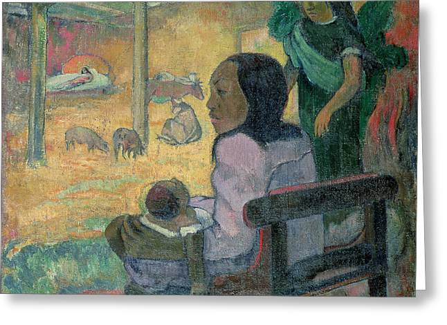 Tahiti Greeting Cards - The Nativity Greeting Card by Paul Gauguin