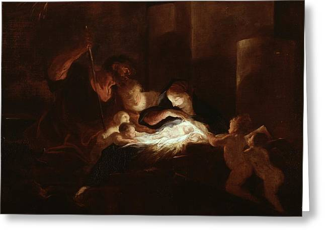 Jesus Greeting Cards - The Nativity Greeting Card by Pierre Louis Cretey or Cretet