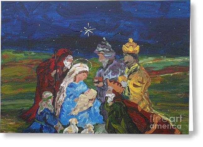 Figurative Greeting Cards - The Nativity Greeting Card by Reina Resto