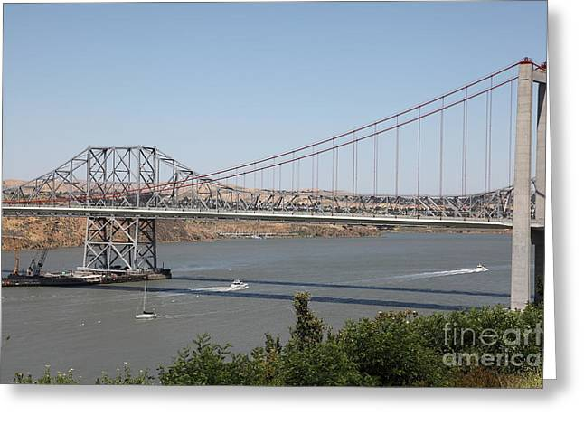 San Pablo Bay Greeting Cards - The New Alfred Zampa Memorial Bridge and The Old Carquinez Bridge . 5D16734 Greeting Card by Wingsdomain Art and Photography