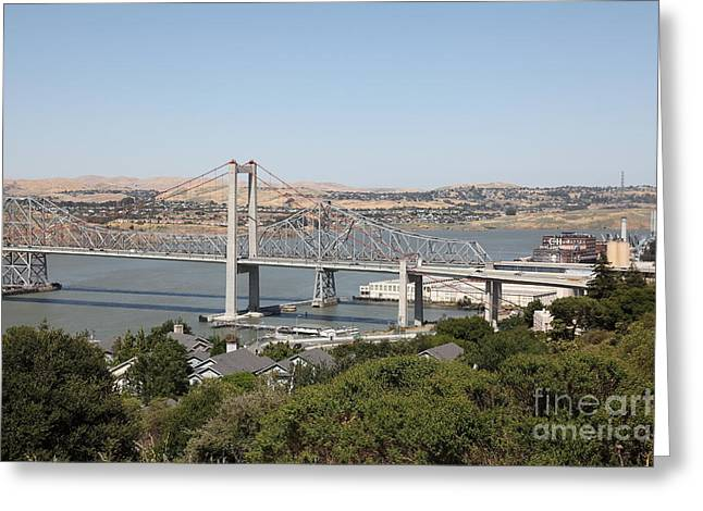 San Pablo Bay Greeting Cards - The New Alfred Zampa Memorial Bridge and The Old Carquinez Bridge . 5D16745 Greeting Card by Wingsdomain Art and Photography