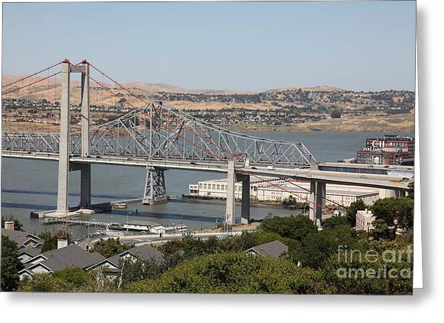 San Pablo Bay Greeting Cards - The New Alfred Zampa Memorial Bridge and The Old Carquinez Bridge . 5D16747 Greeting Card by Wingsdomain Art and Photography