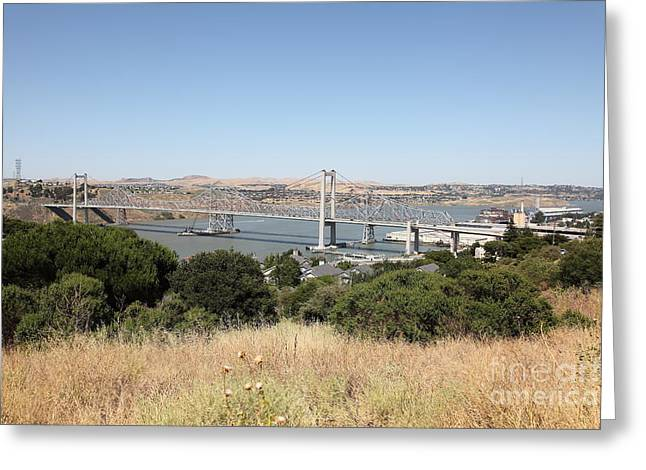 San Pablo Bay Greeting Cards - The New Alfred Zampa Memorial Bridge and The Old Carquinez Bridge . 5D16748 Greeting Card by Wingsdomain Art and Photography