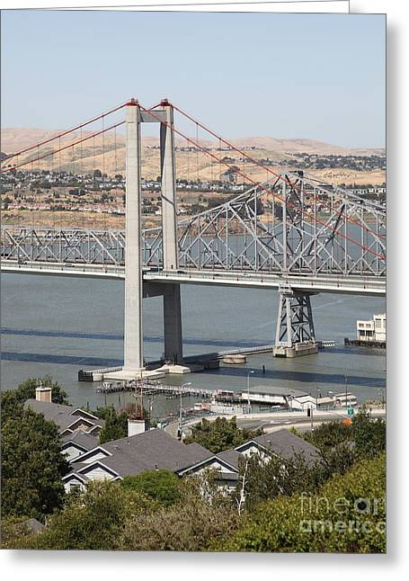 San Pablo Bay Greeting Cards - The New Alfred Zampa Memorial Bridge and The Old Carquinez Bridge . 5D16749 Greeting Card by Wingsdomain Art and Photography
