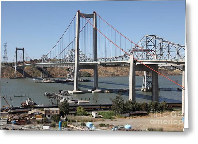 San Pablo Bay Greeting Cards - The New Alfred Zampa Memorial Bridge and The Old Carquinez Bridge . 5D16806 Greeting Card by Wingsdomain Art and Photography