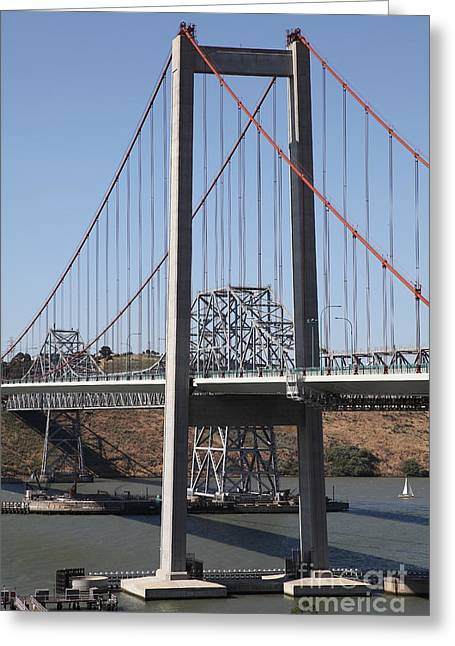 Pablo Greeting Cards - The New Alfred Zampa Memorial Bridge and The Old Carquinez Bridge . 5D16811 Greeting Card by Wingsdomain Art and Photography
