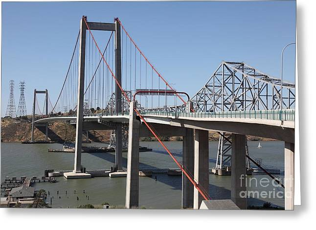 San Pablo Bay Greeting Cards - The New Alfred Zampa Memorial Bridge and The Old Carquinez Bridge . 5D16815 Greeting Card by Wingsdomain Art and Photography
