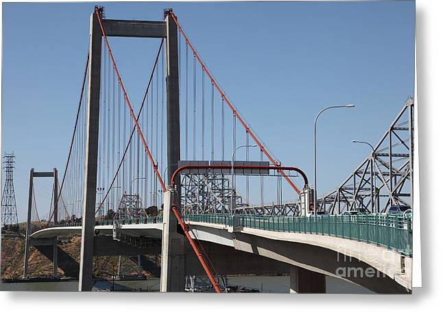 San Pablo Bay Greeting Cards - The New Alfred Zampa Memorial Bridge and The Old Carquinez Bridge . 5D16823 Greeting Card by Wingsdomain Art and Photography