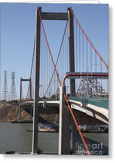 San Pablo Bay Greeting Cards - The New Alfred Zampa Memorial Bridge and The Old Carquinez Bridge . 5D16824 Greeting Card by Wingsdomain Art and Photography