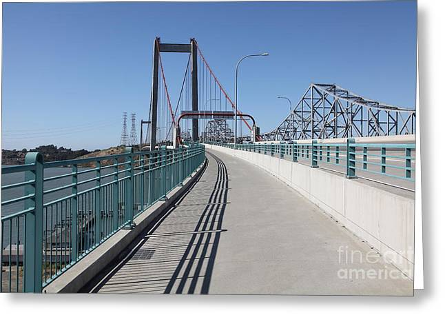 San Pablo Bay Greeting Cards - The New Alfred Zampa Memorial Bridge and The Old Carquinez Bridge . 5D16831 Greeting Card by Wingsdomain Art and Photography