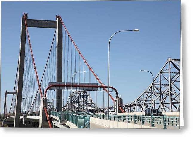 San Pablo Bay Greeting Cards - The New Alfred Zampa Memorial Bridge and The Old Carquinez Bridge . 5D16835 Greeting Card by Wingsdomain Art and Photography
