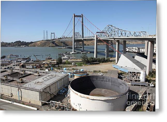 Pablo Greeting Cards - The New Alfred Zampa Memorial Bridge and The Old Carquinez Bridge . 5D16843 Greeting Card by Wingsdomain Art and Photography