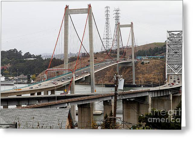 San Pablo Bay Greeting Cards - The New Alfred Zampa Memorial Bridge and The Old Carquinez Bridge . 7D8915 Greeting Card by Wingsdomain Art and Photography