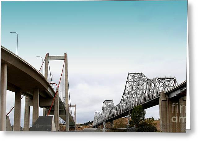 Pablo Greeting Cards - The New Alfred Zampa Memorial Bridge and The Old Carquinez Bridge . 7D8829 Greeting Card by Wingsdomain Art and Photography